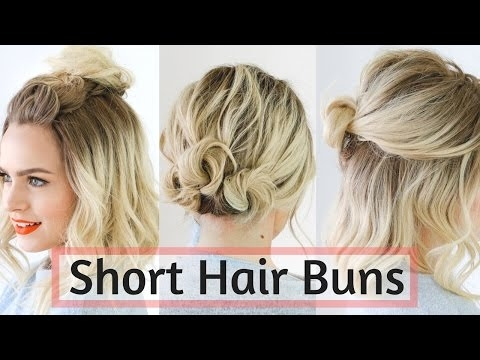 Awesome quick bun hairstyles for short medium hair hair tutorial Up Hair Styles For Short Hair Choices