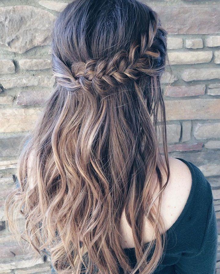beautiful braid half up and half down hairstyle for romantic Half Up Half Down Braided Hairstyles Pinterest Ideas