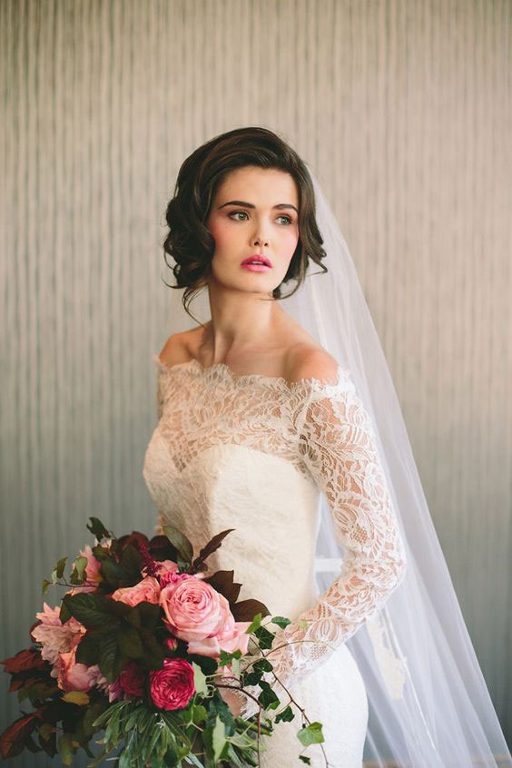 Best stunning short hairstyles for your wedding day southern living Short Hair Wedding Styles With Veil Inspirations
