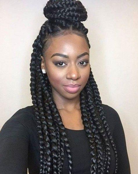 Cozy box braids african american braided updo hairstyle African American Braids Styles