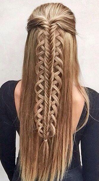 Elegant half up hald down fishtail braid gorgeoushair hair styles Half Up Half Down Braided Hairstyles Pinterest Choices