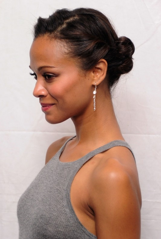 Stylish african american daily hairstyles zoe saldana cute simple African American Pin Up Hairstyles For Short Hair