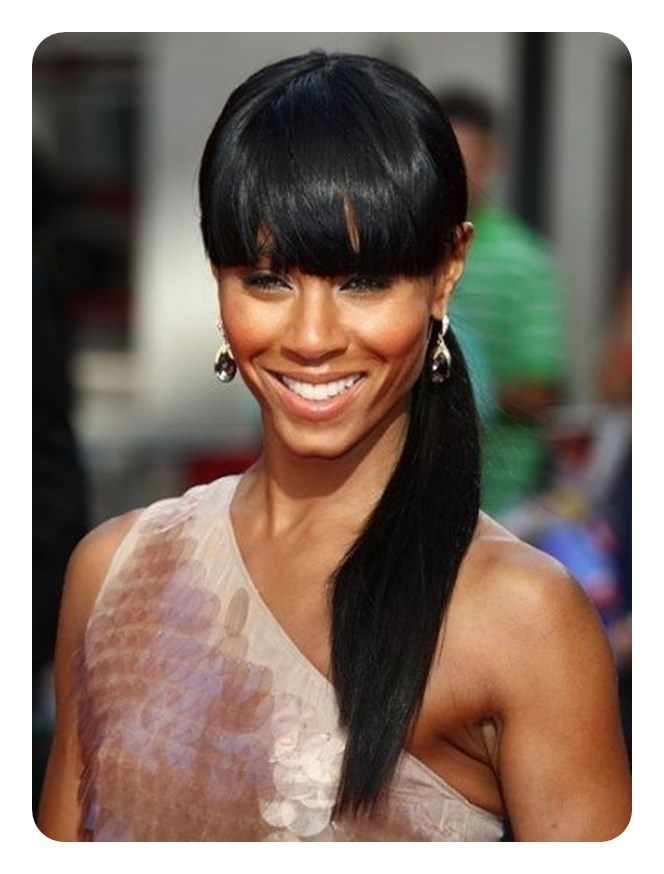 Awesome 110 ponytail with bangs ideas for a good hair day style easily African American Ponytail Hairstyles With Bangs Designs
