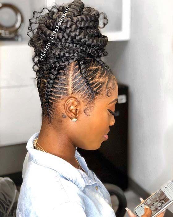 Awesome 23 braided bun hairstyles for black hair stayglam Braided Hair Bun Styles Ideas
