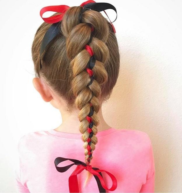Awesome 8 ribbon braid hairstyles for little girls hairstylecamp Crocheted Ribbon Braided Hairstyle Ideas