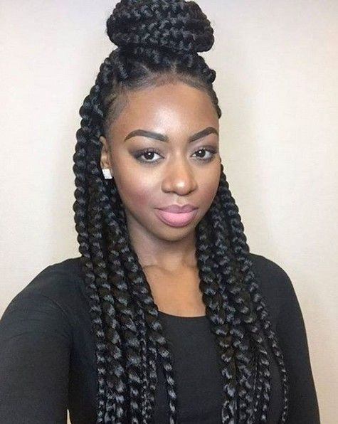 Awesome box braids african american braided updo hairstyle Cute Braids For African American Hair Designs