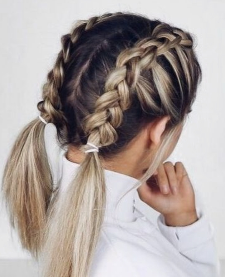 Awesome double dutch french braids blonde balayage highlights French Braided Hair Styles Inspirations