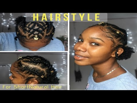 Awesome double puff braided twa style type 4 natural hair youtube Twa Braid Hairstyles Ideas