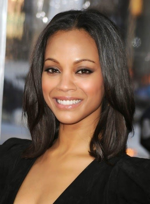 Awesome stylish layered shoulder length hairstyle with blunt bangs Layered Haircuts For African American Hair Designs