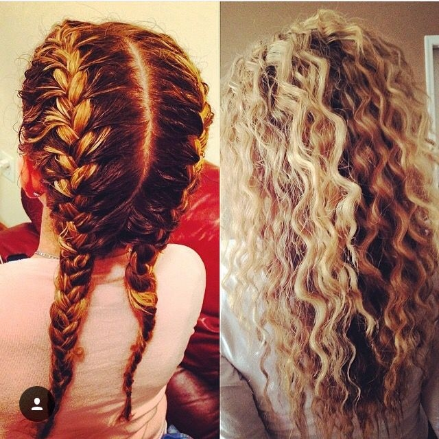 Awesome two french braids sprayed with water spray and crimpy hair Ways To Braid Your Hair At Night Choices
