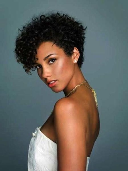 Best alicia keys rocks short waves curly pixie hairstyles Short Hairstyles For Thick Naturally Curly Hair Inspirations