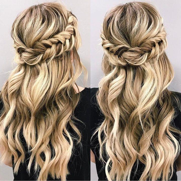 Best braid half up half down hairstyle hair styles long hair Bridal Hairstyles Half Up Braid Inspirations