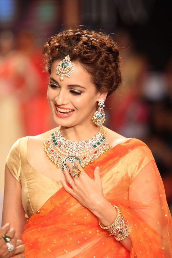 Best latest curly hairstyles for saree and lehenga 2019 Hairstyles For Short Wavy Hair For Saree Inspirations