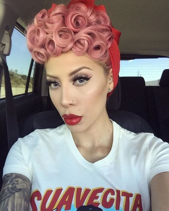 Best pin curls for short hair pastel pink poodle styles Pin Up Style Short Hair Ideas