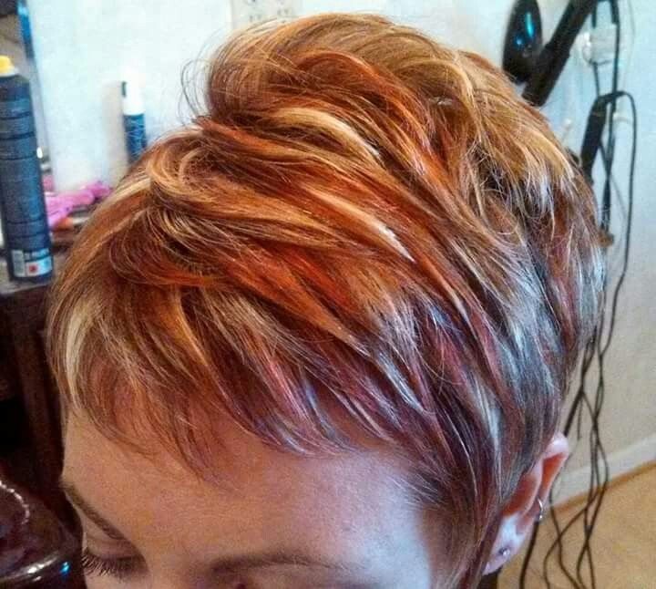 Best pin on favorite hair colors Short Spiky Red Hair With Blonde Highlights Inspirations