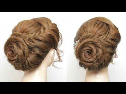 Best rose hairstyle for long hair prom wedding braided flower Wedding Prom Hairstyle For Long Hair Updo Tutorial With Braided Flowers Inspirations