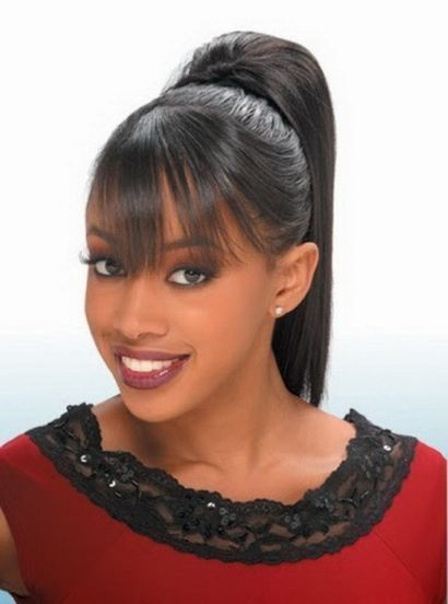 black women high ponytail hairstyles with side bangs high African American Ponytail Hairstyles With Bangs Designs