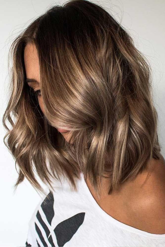 brunette blonde highlights easy curls short hair ideas curls Light Brown Short Hair Styles Ideas