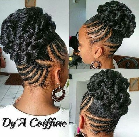 Cozy braided updos for black hair natural hair styles for black Elegant Braids African American