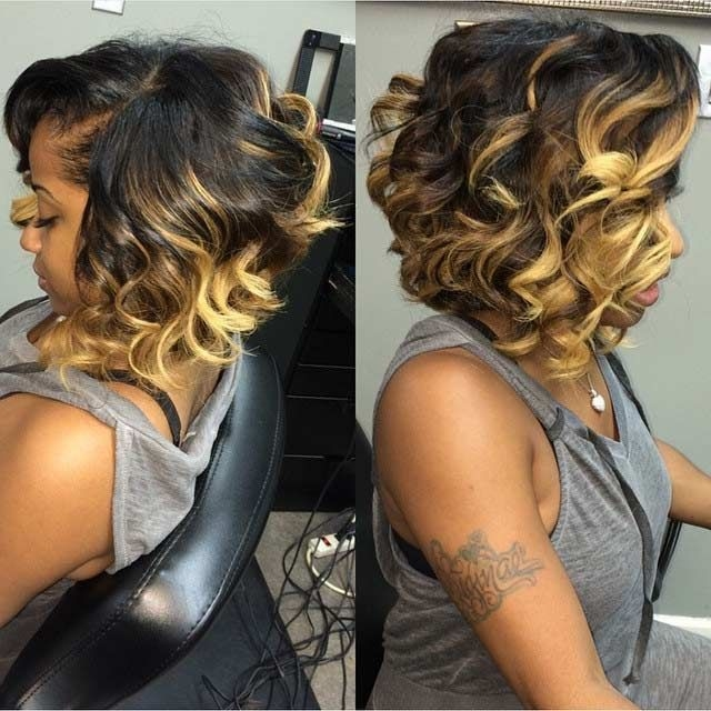 Cozy curly long bob hairstyles with blonde highlights trendy African American Hairstyles With Blonde Highlights Ideas