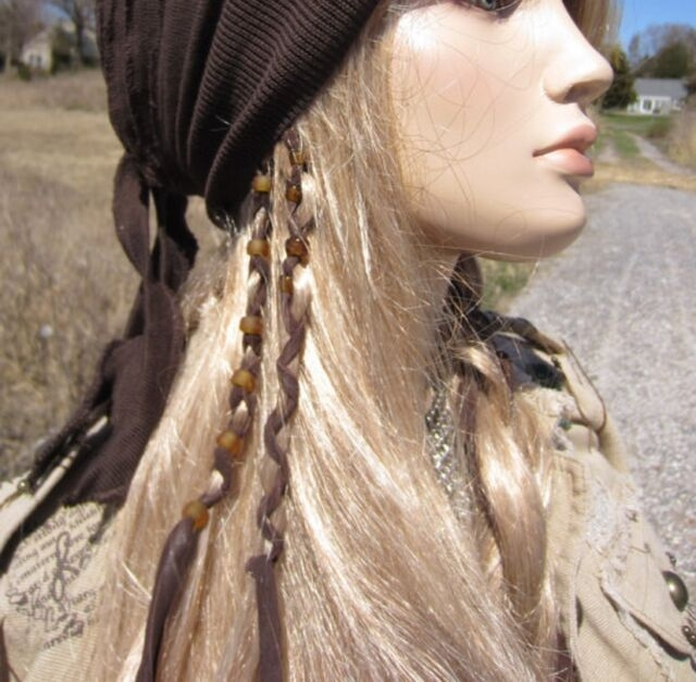 Cozy native american boho hair jewelry ponytail holders leather Native American Braid Wraps Designs
