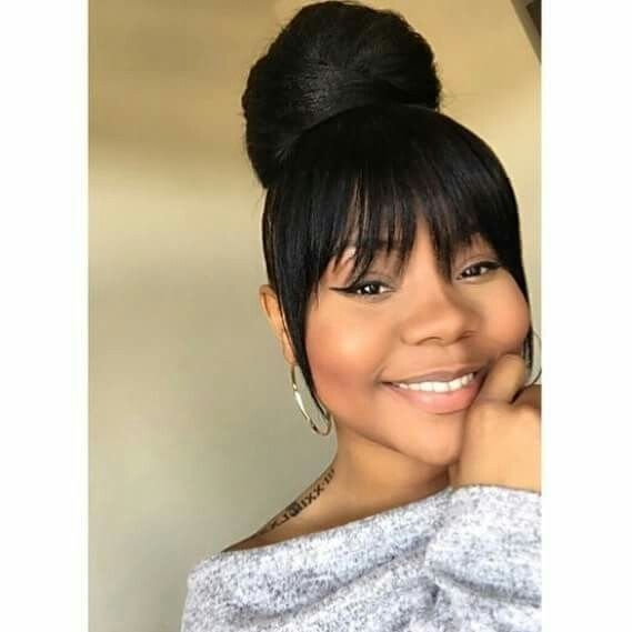Cozy pin on bun hairstyles African American Ponytail Hairstyles With Bangs Ideas