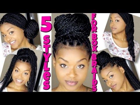 Elegant 5 styles for box braids quick easy Hair Styles For Box Braids Ideas