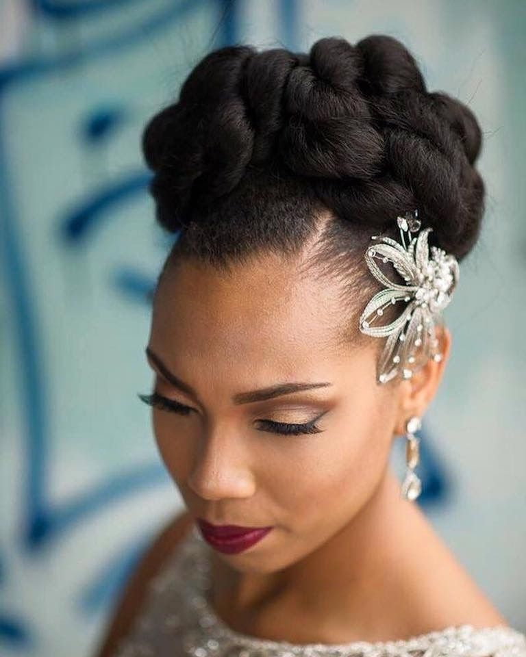 Elegant bride wedding hair african american hair natural hair Wedding Hairstyles Natural African American Hair Ideas