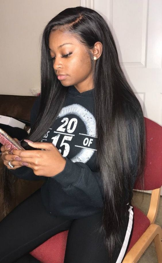 Elegant custom 26 inches 30 inches hair length celebrities African American Straight Weave Hairstyles Designs