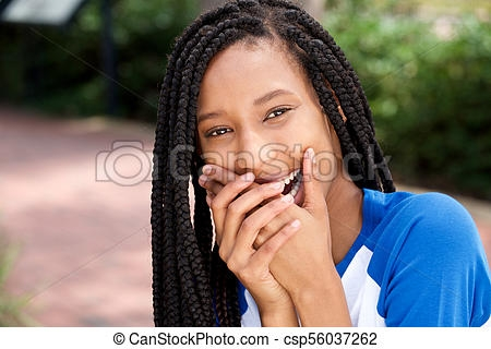 Elegant cute african american girl laughing with hands covering mouth American Cute Girls Designs