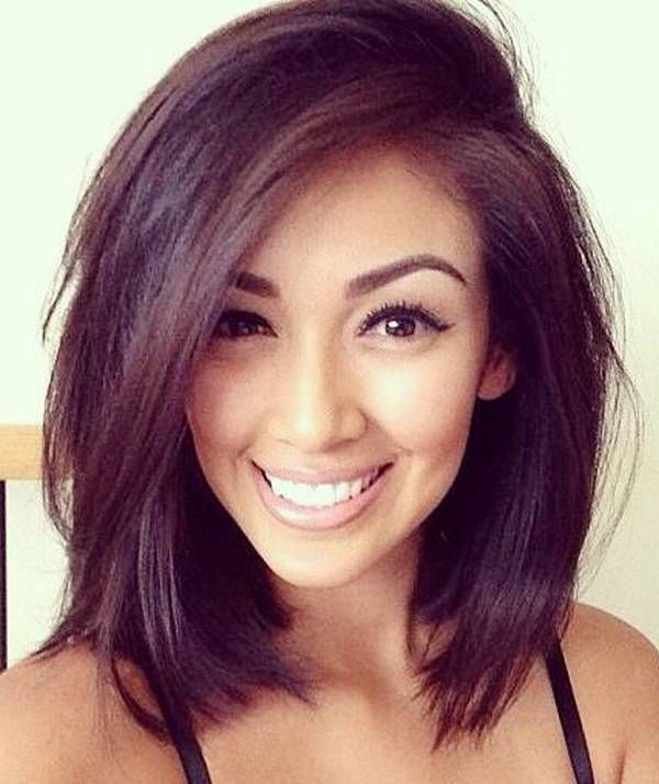 Elegant pin on hair Medium Short Hairstyles For Round Faces And Thick Hair Choices