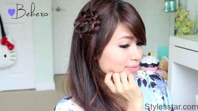 Elegant rosette flower braid hairstyle for medium long hair tutorial Rosette Flower Braid Hairstyle For Medium Long Hair Tutorial Choices