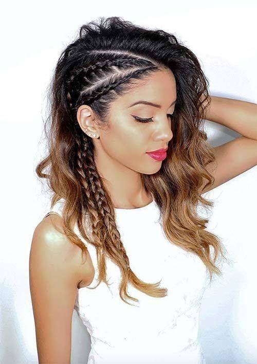 Elegant side braids curls hair updo hair styles braids for long Curly Hairstyles For Long Hair To The Side With Braids Choices