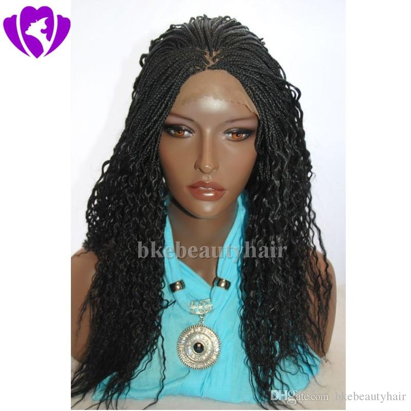 Elegant stock black micro braided wig lace front synthetic wigs for africa american box braids high temperature women wigs best synthetic wig glueless lace African American Micro Braid Wigs