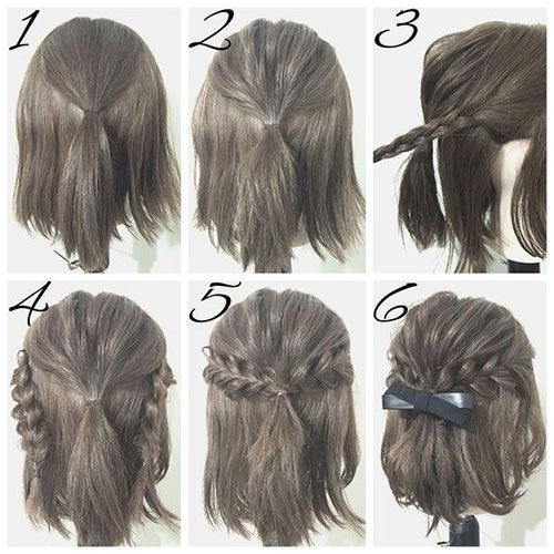 first create a half ponytail then create two braids and Cute Hairstyles For Short Hair Easy To Do Inspirations