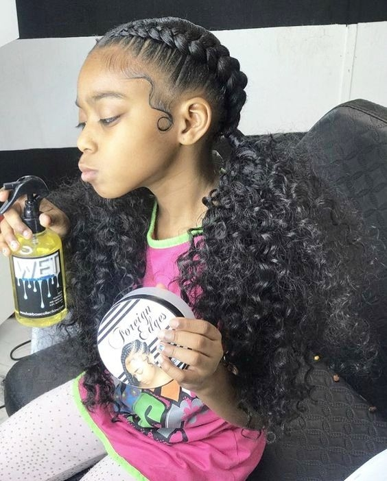 french braids with black curls natural hair styles African Cute French Braid Hairstyles Choices