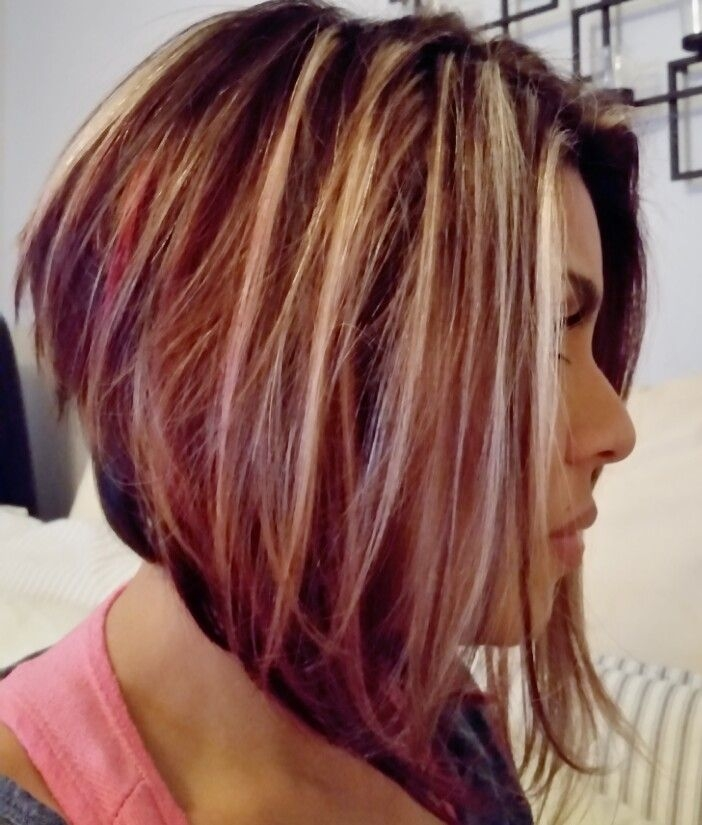 Fresh angled bob with blonde highlights brown and red lowlights Short Brown Hair With Blonde And Red Highlights Inspirations