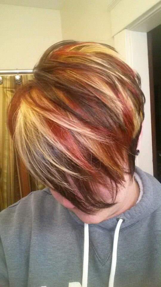 Fresh multicolored highlights red blonde highlights brown Short Brown Hair With Blonde And Red Highlights Ideas