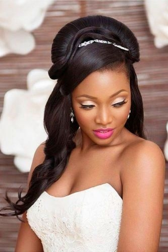 Stylish 42 black women wedding hairstyles that full of style African American Wedding Hairstyles Half Up And Half Down
