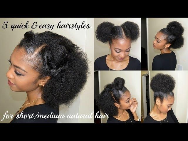 Stylish 5 quick easy hairstyles for shortmedium natural hair Quick Hairstyles For African American Hair Ideas