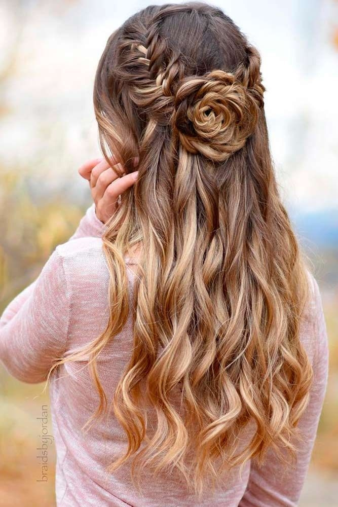 Stylish 68 stunning prom hairstyles for long hair for 2020 hair Romantic Prom Hairstyle For Long Hair With Braided Flower Ideas