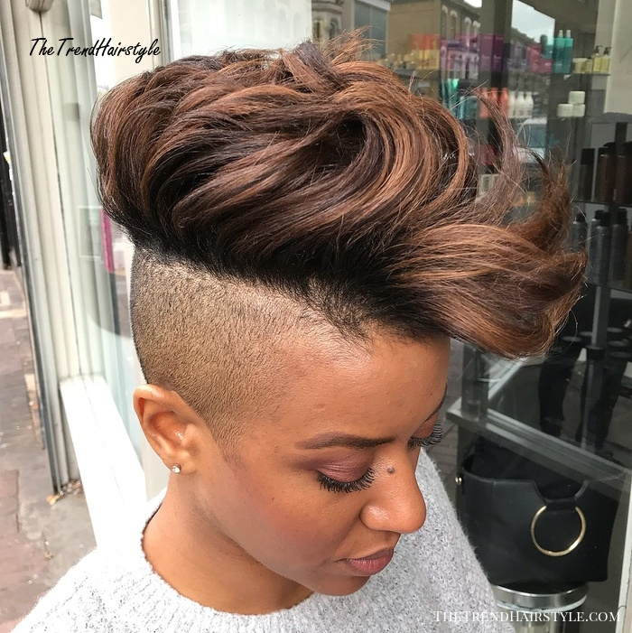 Stylish bold long top shaved sides hairstyle for women 50 most Abfrican American Shorthairstyles With Shaved Sides Designs