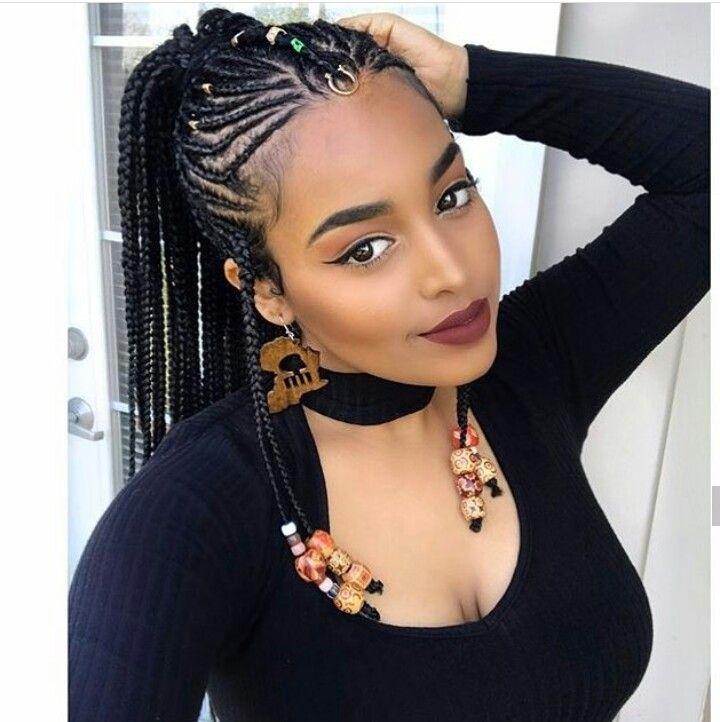 Stylish braids natural hair styles hair styles braided hairstyles Braids Styles For Black Hair Ideas