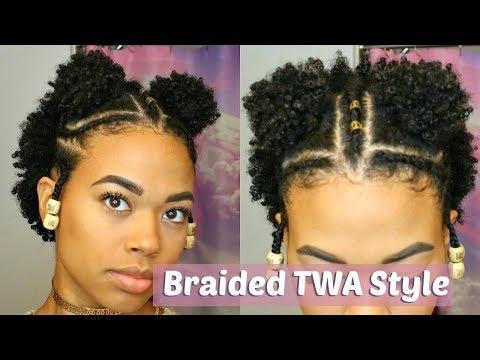 Stylish double puff braided twa style type 4 natural hair youtube Twa Braid Hairstyles Choices