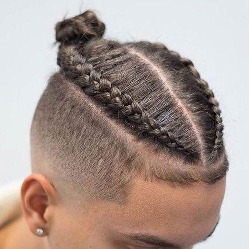 Stylish dutch braids on guys best man bun braids cool braided Hair Braid For Boys Inspirations