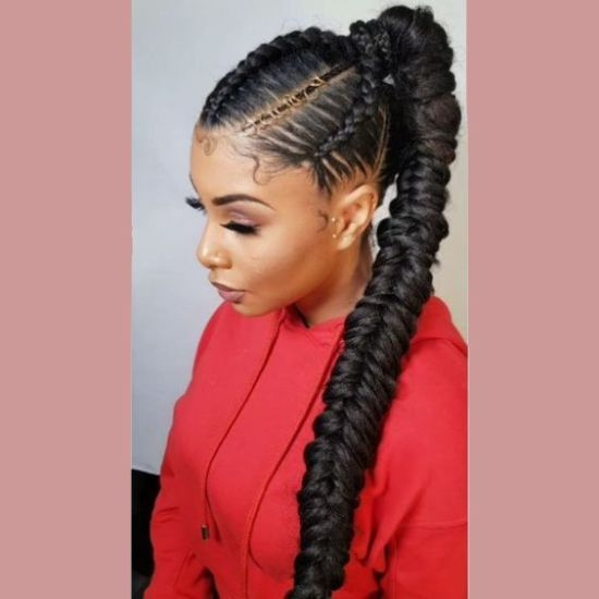 Stylish fishtail feed in braids beads braided ponytail Amazing Fishtail Braids Ever For African Hair Inspirations