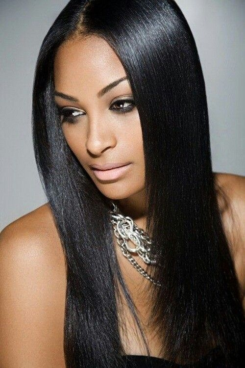 Stylish long sleek center part straight weave hairstyles indian African American Straight Weave Hairstyles Designs