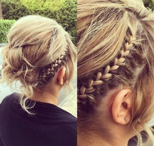 Stylish messy updo with a braid for thin hair hairstyles for thin Side Braid Hairstyles For Thin Hair Ideas