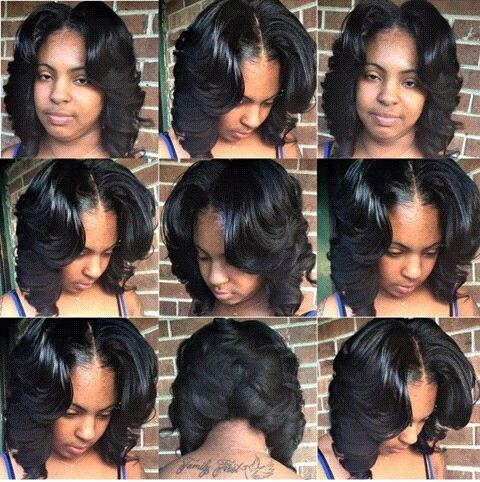 Stylish middle part layered bob quick weave hairstyles weave bob Weave Hairstyles For African American Designs