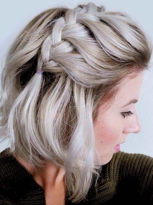 Stylish side french braid ideas of cute easy hairstyles for short Cute Hairstyles For Short Straight Hair Easy Choices